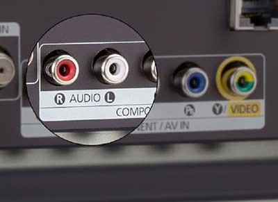 شکل2 انواع ورودی تلویزیون - ورودیهای صدای RCA