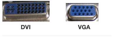 شکل9 - انواع ورودی تلویزیون - پورت VGA و DVI